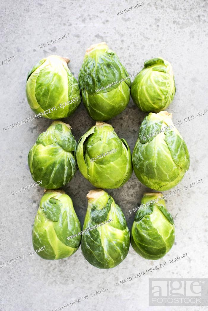 Stock Photo: Brussel sprouts in rows, close-up.