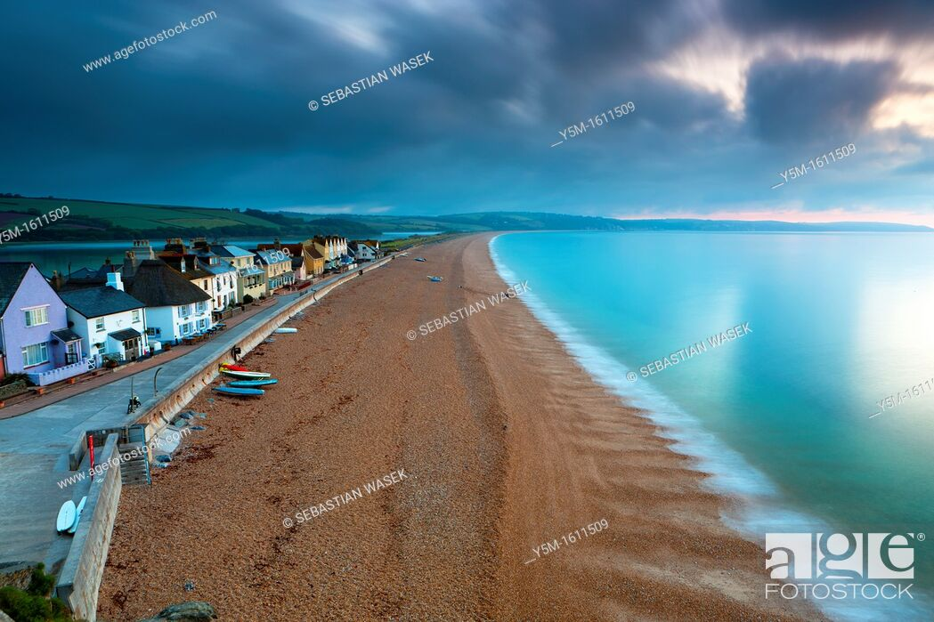 Stock Photo: View along sandy beach in Torcross, South Devon, England, UK, Europe.