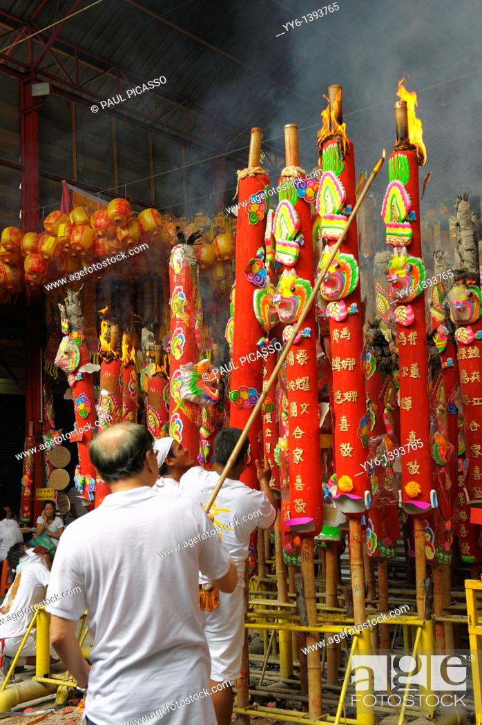Stock Photo: lighting candles , making merit , Vegetarian festival at San Jao Sieng Kong shrine , wat sung heng yee, Chinatown , Bangkok, thailand.