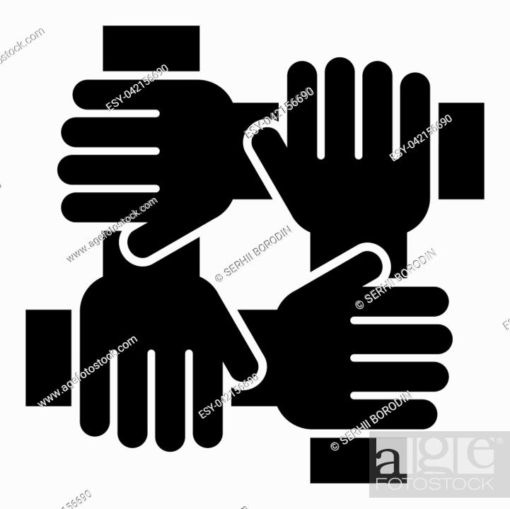 Stock Vector: Four hand holding together team work concept icon black color vector illustration flat style simple image.