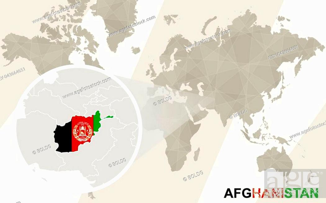 Vector: Zoom on Afghanistan Map and Flag. World Map.