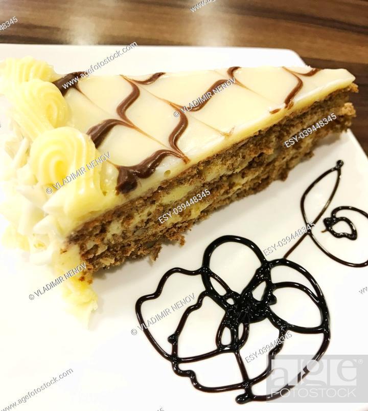 Stock Photo: Chocolate Caramel Cake.