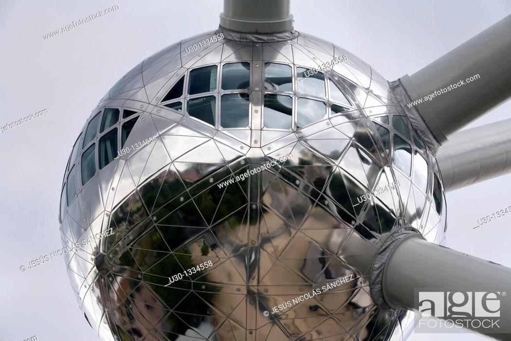 Stock Photo: The Atomium, built for the Universal Exhibition of 1958, and nowadays symbol of the Brussels city, capital of Belgium.