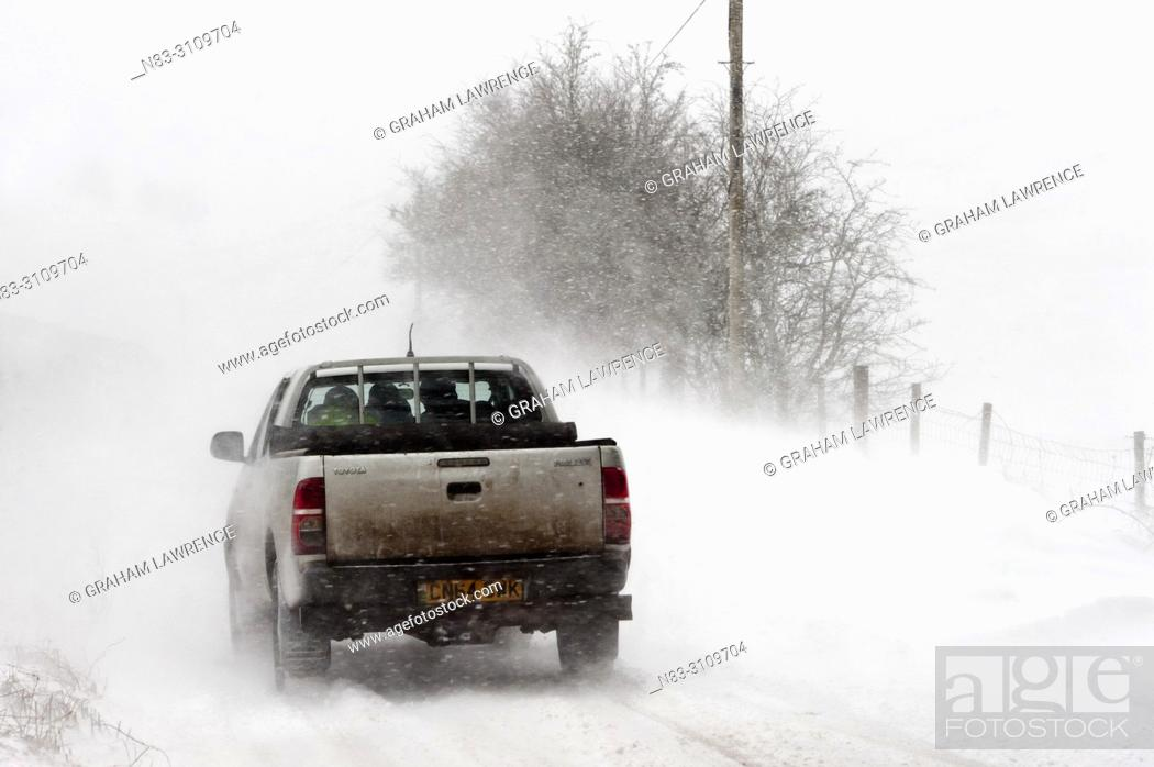 Stock Photo: A vehicle drives along the B4520 (Brecon Road) through a blizzard on the Mynydd Epynt moorland, near Builth Wells in Powys, Wales, UK.