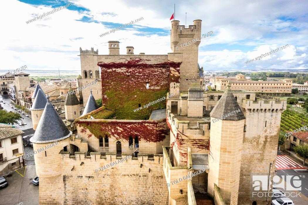 Stock Photo: Palace of the Kings of Navarre castle, Olite, Navarra Community, Spain.