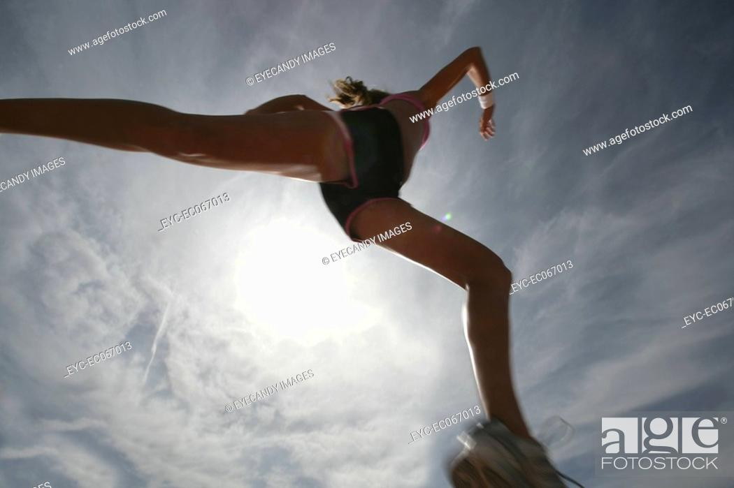 Stock Photo: Woman running.