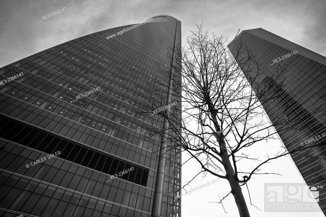 Stock Photo: Torre de Cristal and Torre Espacio. Cuatro Torres Business Area (Four Towers Business Area). Paseo de la Castellana. Madrid. Spain.