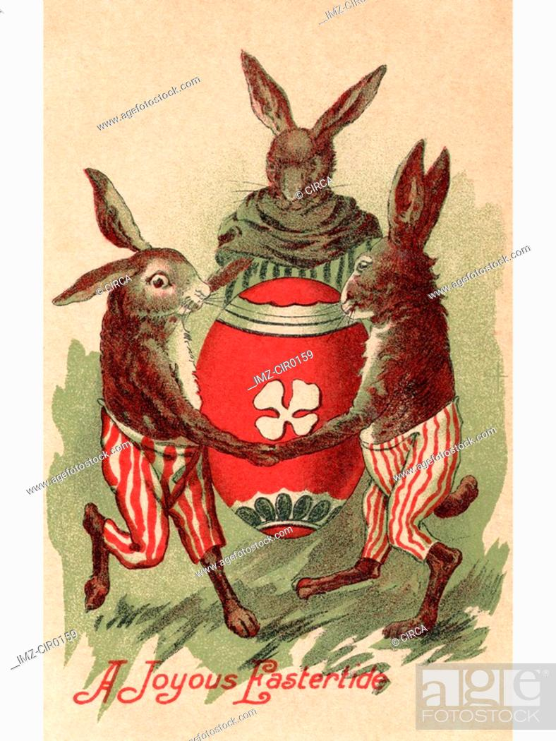 Stock Photo: A vintage Easter postcard of three rabbits dancing around a painted egg.