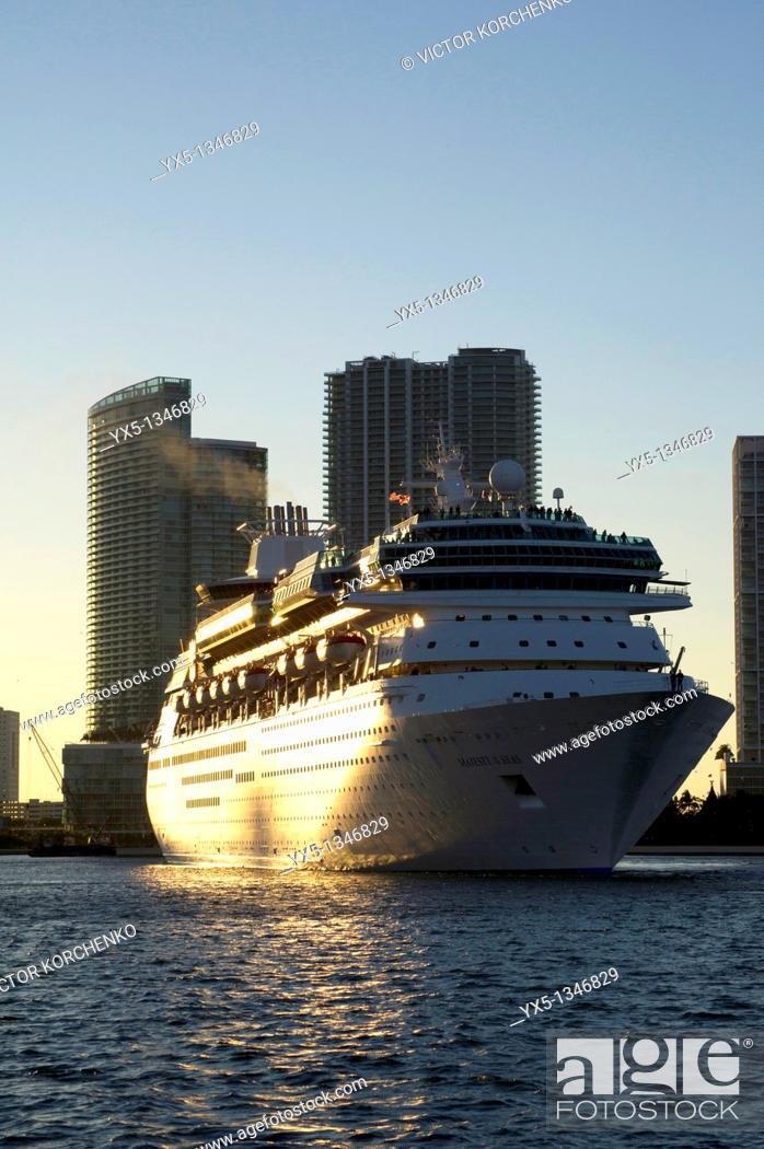 Stock Photo: Cruise ship in Miami port.