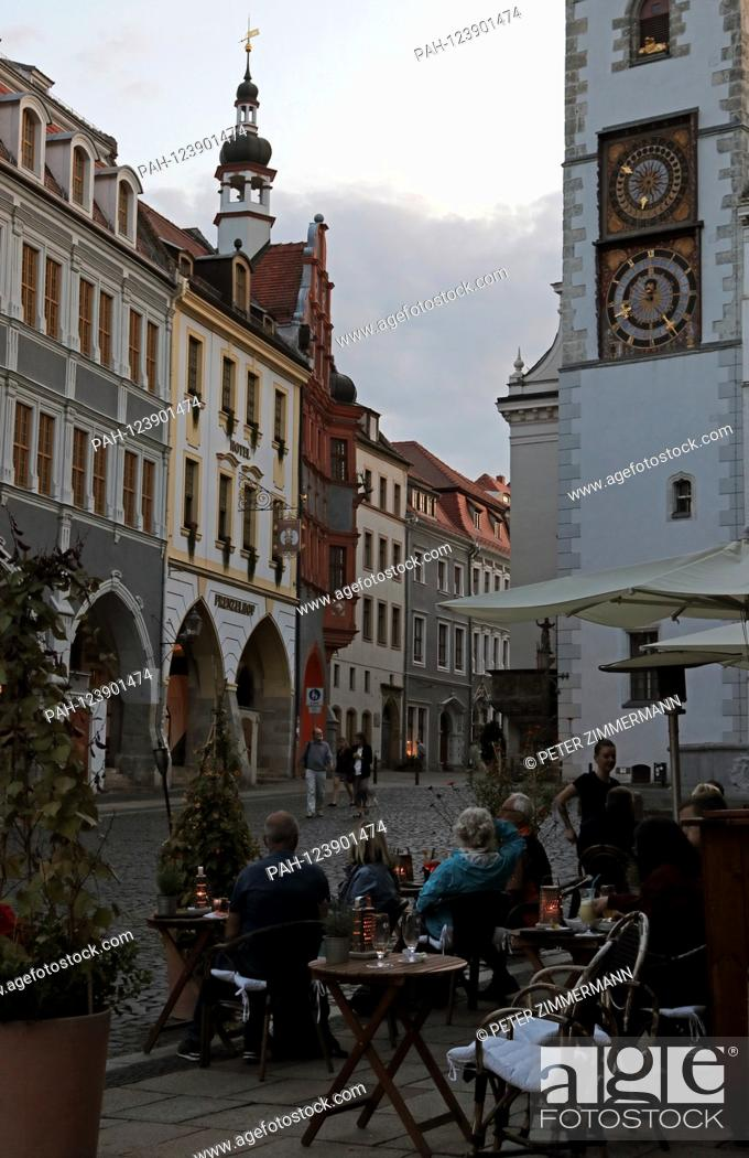 Stock Photo: Refurbished historic facades at the Untermarkt at dusk in Gorlitz, the easternmost city in Germany, the district town of the Gorlitz district in the Free State.