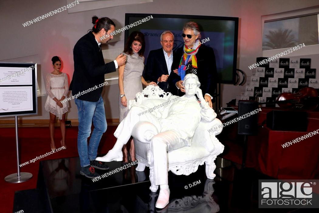 A life-size marble statue of Andrea Bocelli is unveiled at