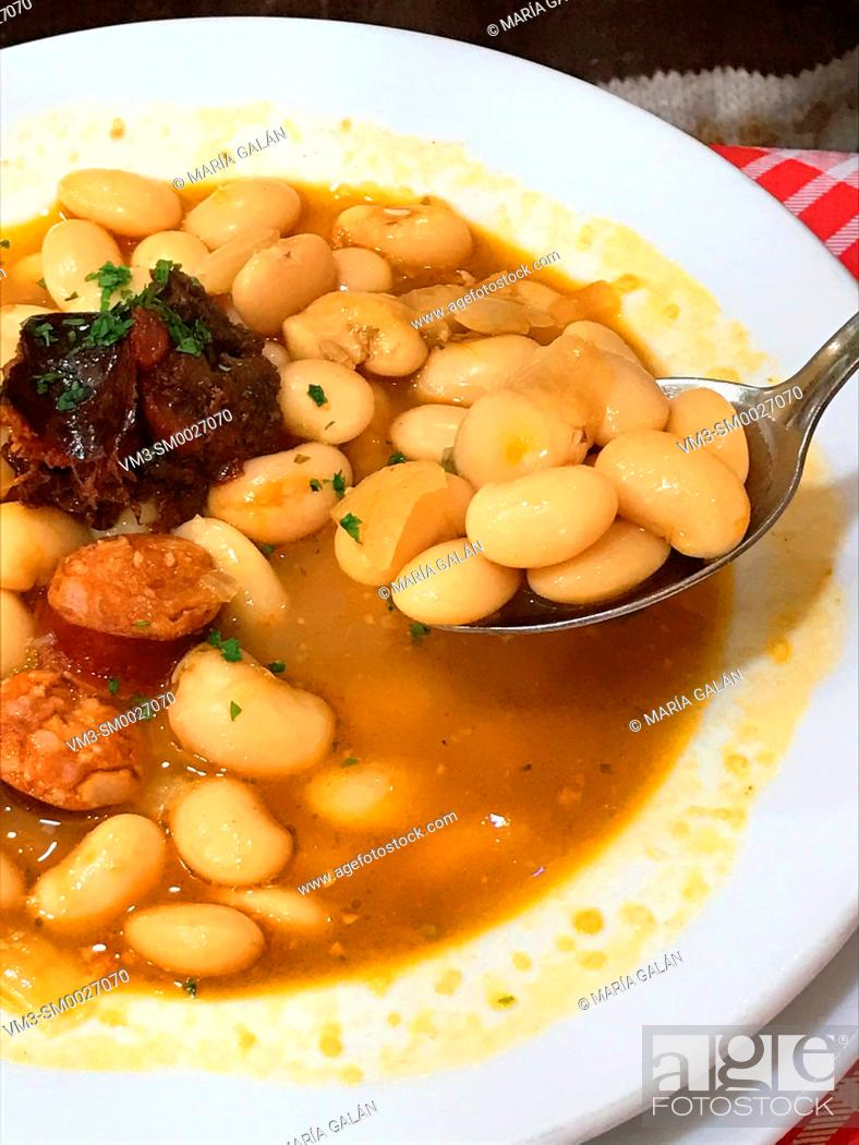 Stock Photo: Fabada asturaiana serving. Asturias, Spain.