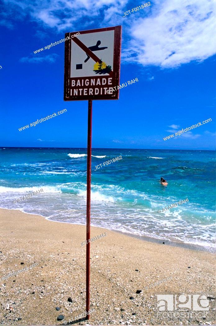 Stock Photo: Reunion, Boucan canot, No bathing sign.