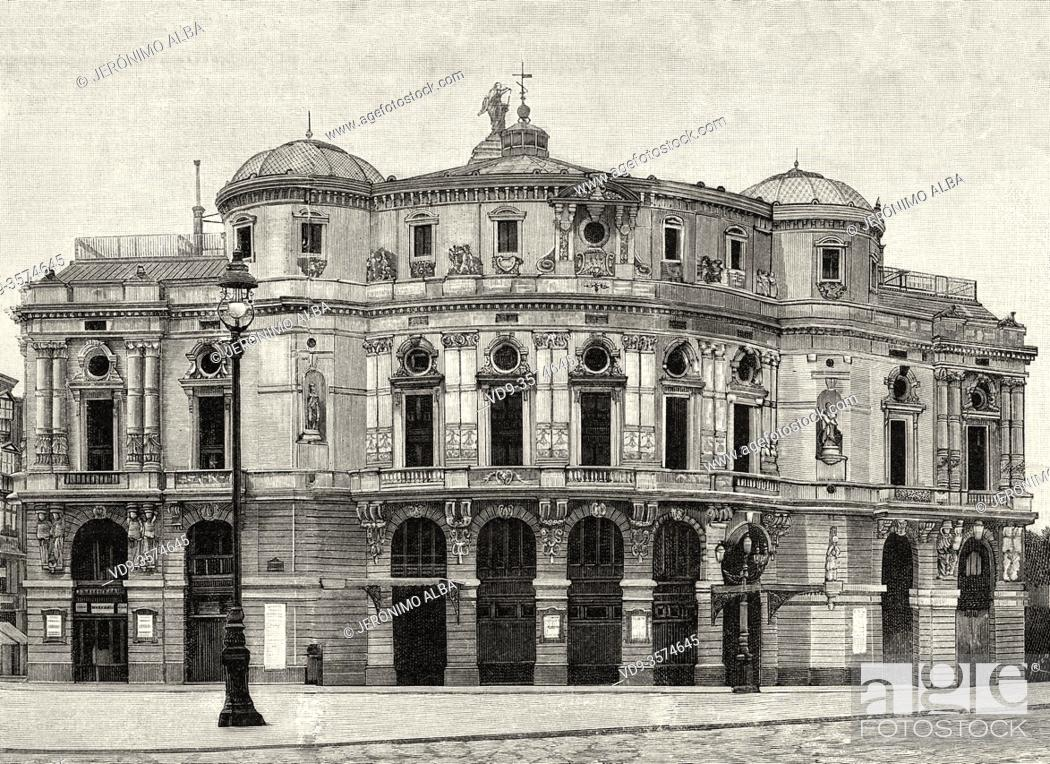 Stock Photo: The Arriaga Theater, neo-baroque building from the end of the 19th century, the work of the architect Joaquín de Rucoba and dedicated to the Bilbao composer.