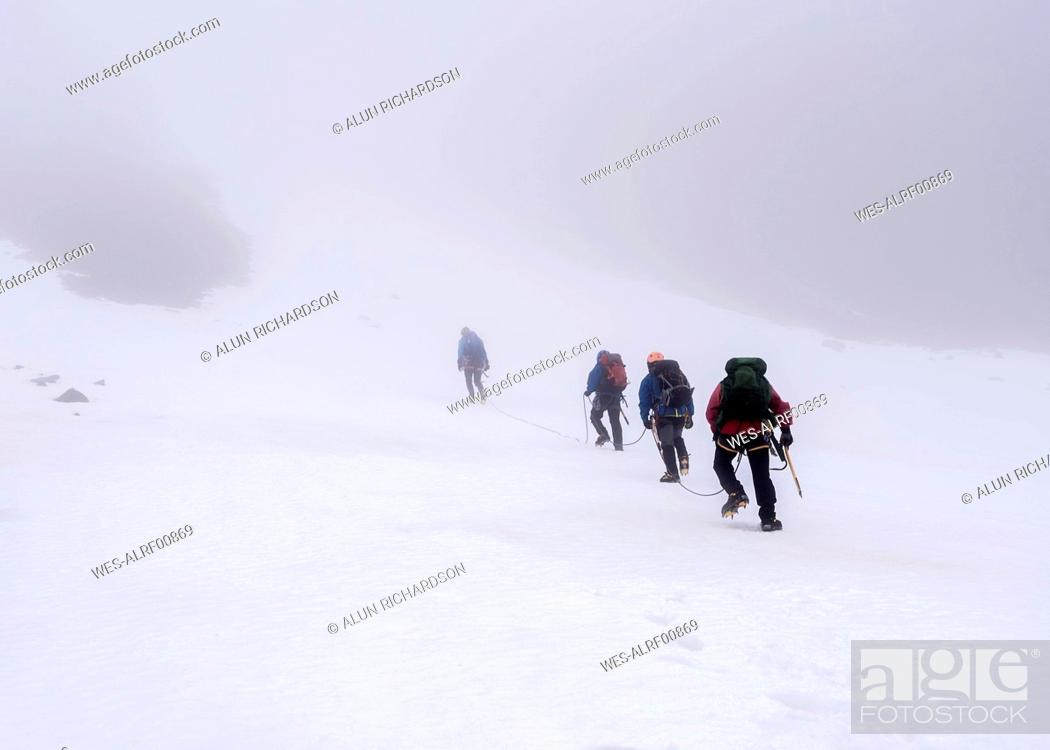 Stock Photo: UK, Scotland, Ben Nevis, mountaineers at Number Two Gully.