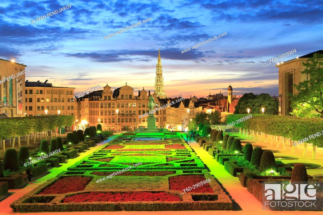 Stock Photo: Mont des Arts and City Hall at Sunset, Brussels, Belgium.