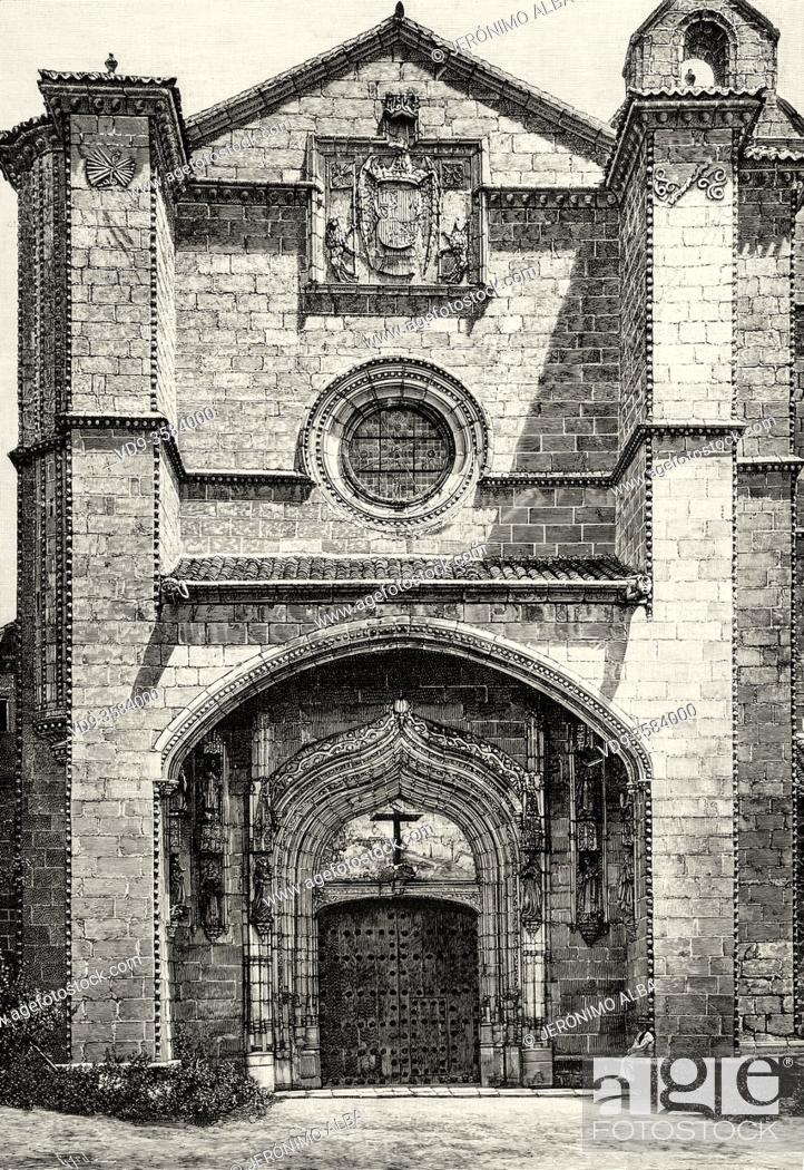 Photo de stock: Santo Tomas Monastery and Catholic Monarchs Palace, Avila, Castile and Leon, Spain. Europe. Old XIX century engraved illustration from La Ilustracion Española y.
