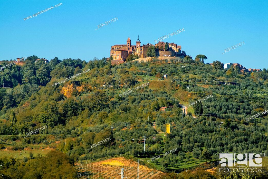 Stock Photo: The small walled hilltop town of Panecale in Umbria, Italy.