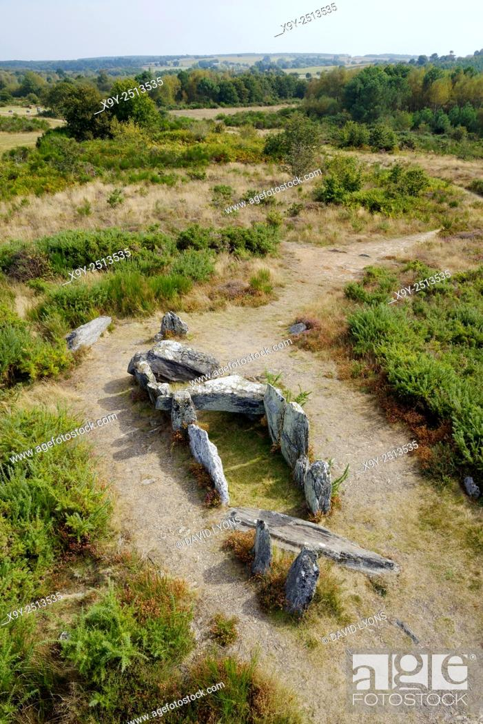 Stock Photo: Landes de Cojoux, Saint-Just, Brittany, France. The prehistoric barrow chambered tomb dolmen known as La Four Sarrazin.