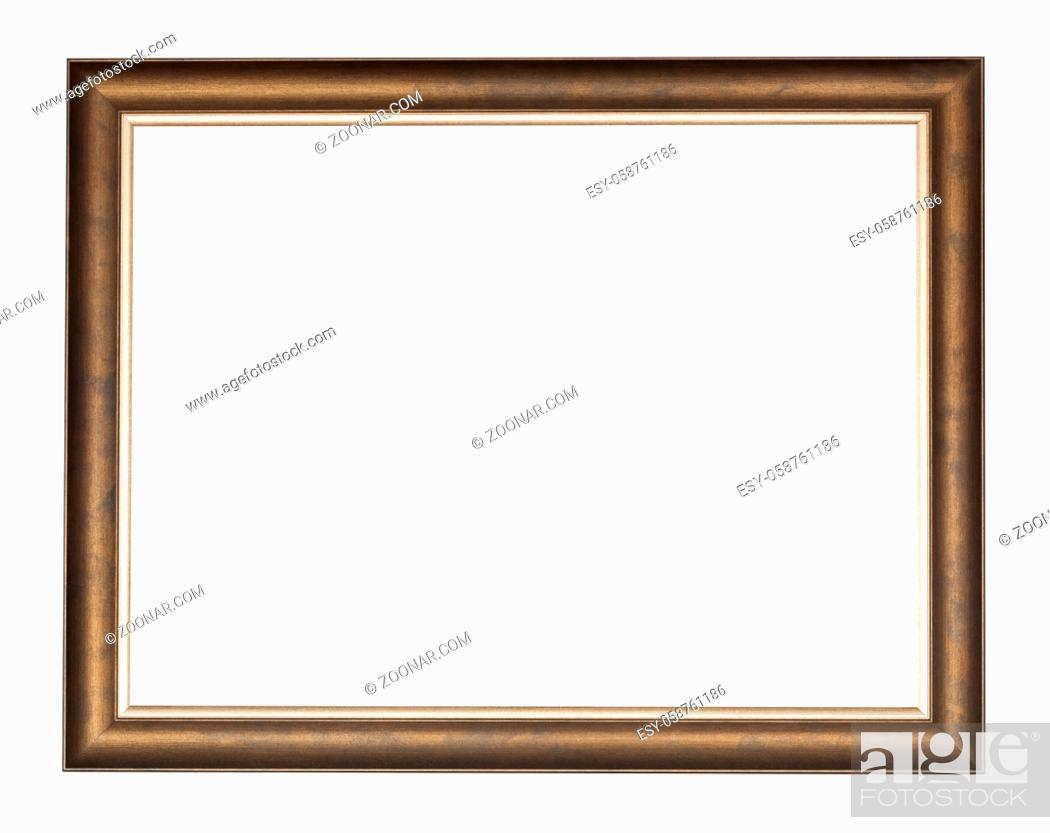 Stock Photo: empty bronze wooden picture frame with cut out canvas isolated on white background.