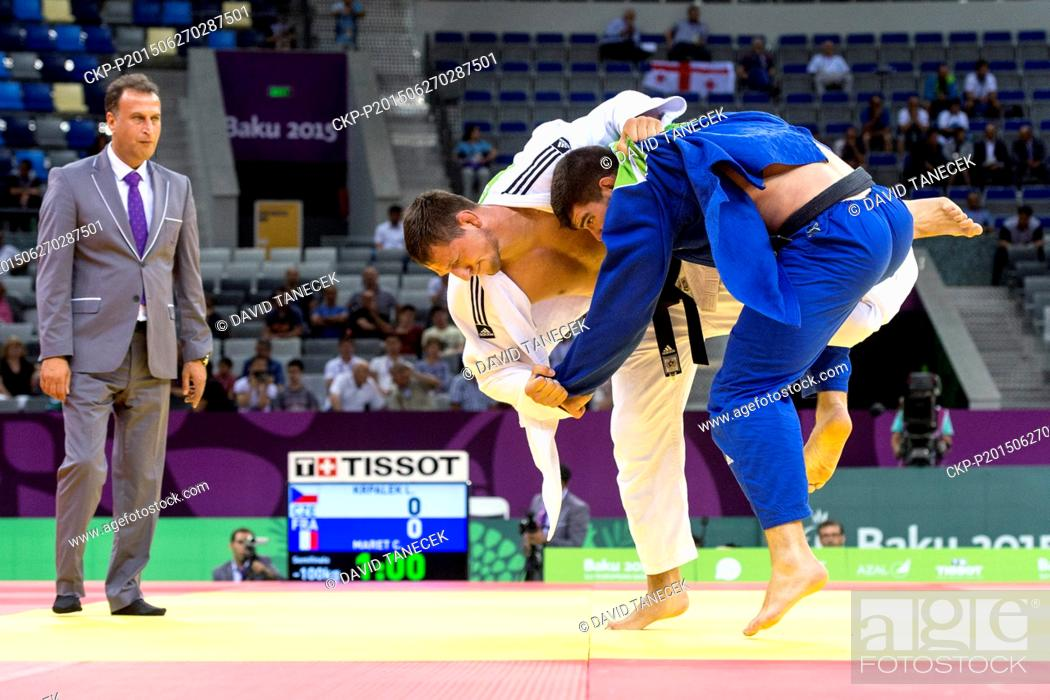Stock Photo: Lukas Krpalek (in white) from Czech Republic and Cyrille Maret from France fight during the Men's Judo under 100kg in Heydar Aliyev Arena at the Baku 2015 1st.