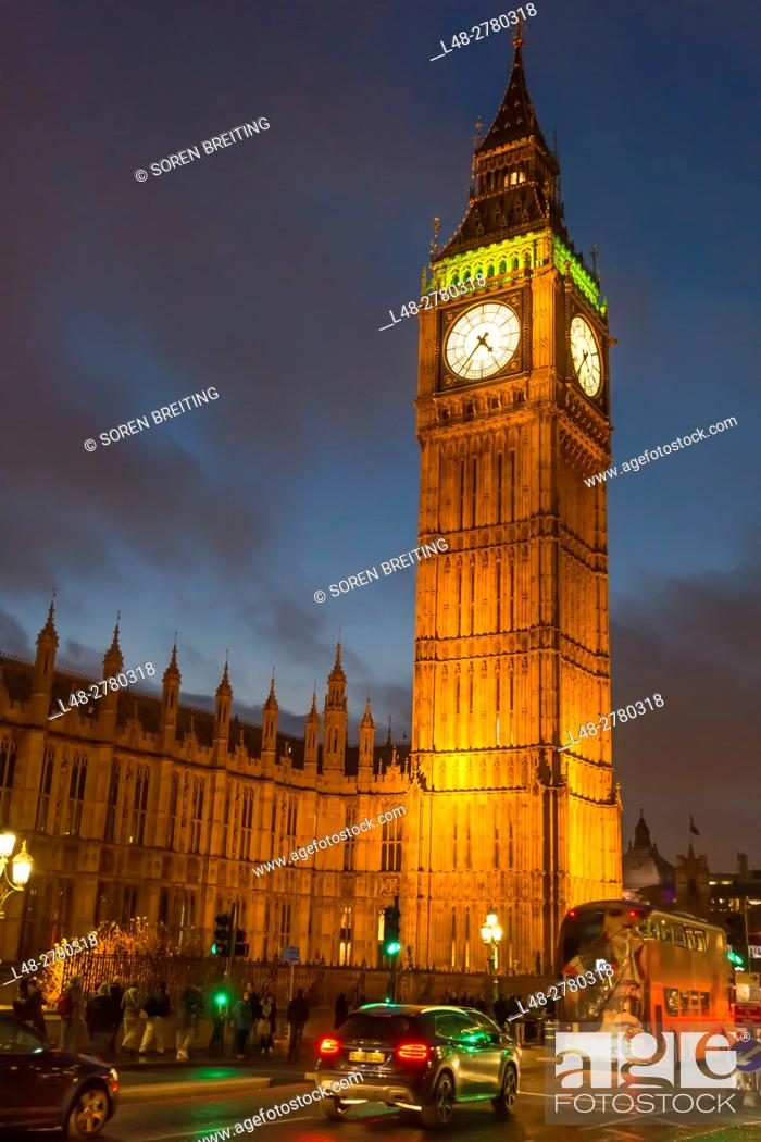 Stock Photo: Big Ben and British Parliament at night seen from Westminster Bridge, London.