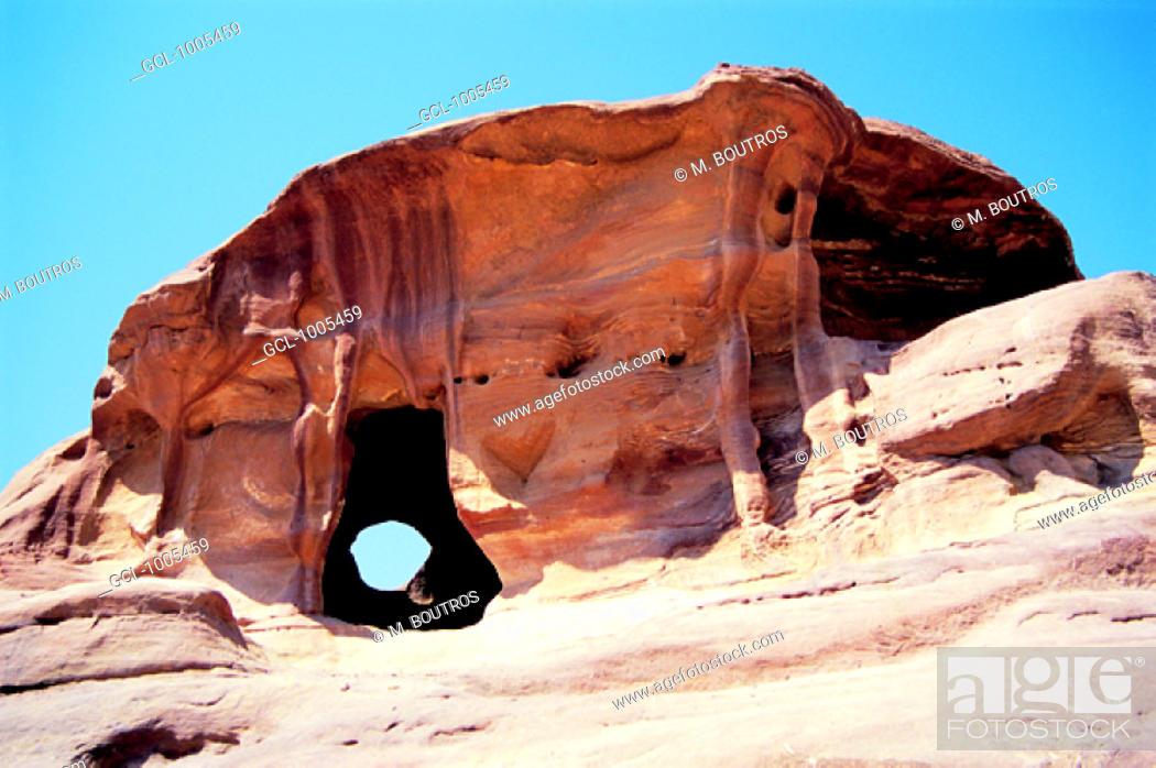 Stock Photo: Rock in Petra, Jordan.