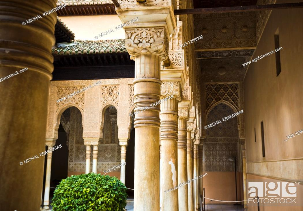 Stock Photo: Columns on Patio of the Lions in Alhambra Granada, Spain.