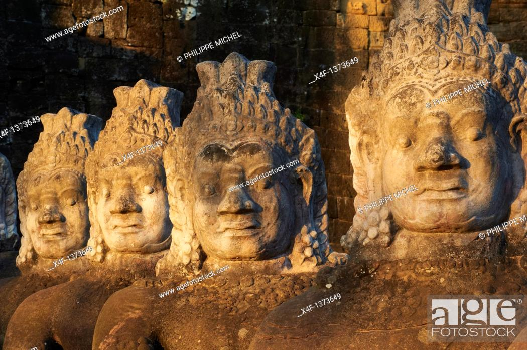 Stock Photo: Southeast Asia, Cambodia, Siem Reap Province, Angkor site, Unesco world heritage since 1992, Ancient city of Angkor Thom, South Entry Gate.
