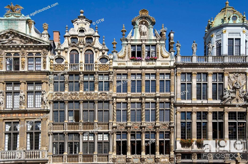 Stock Photo: Houses of the guilds, Grand Place, Unesco World Heritage Site, Brussels, Brabant, Belgium, Europe.