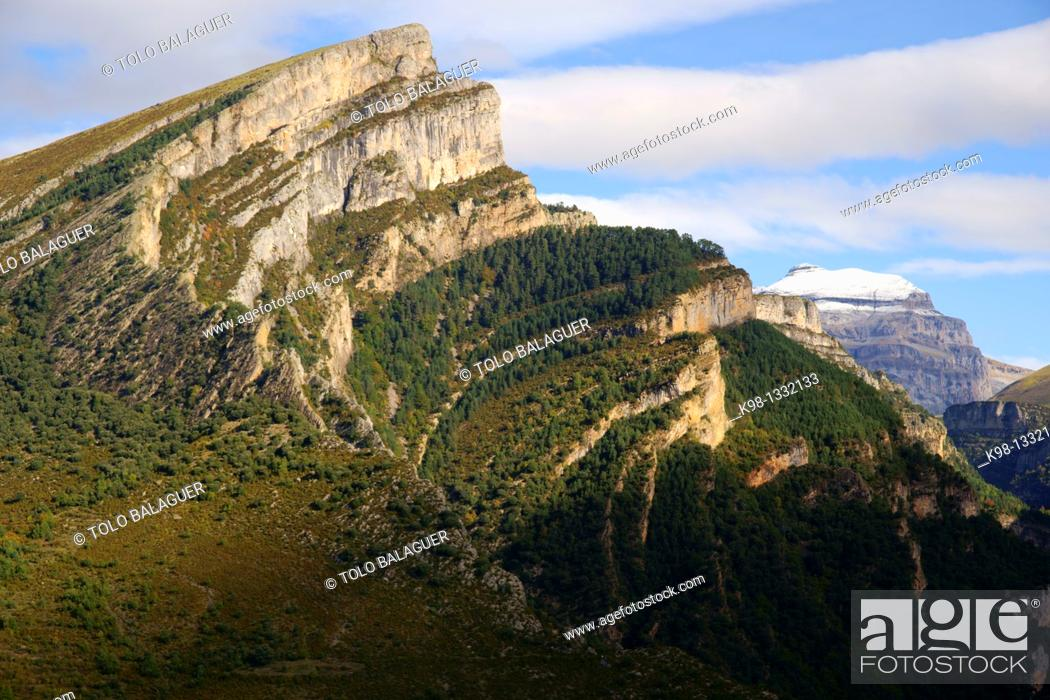 Stock Photo: Mondoto 1962m and Punta de las Olas 3002m Añisclo Valley Huesca Pyrenees Spain.