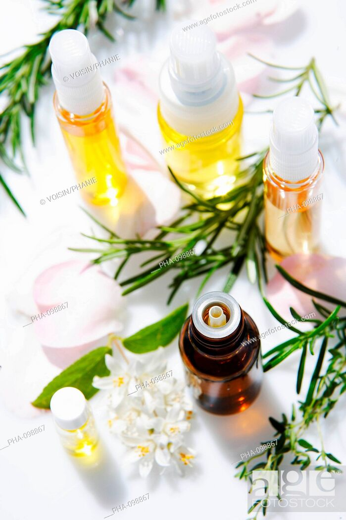 Stock Photo: Bottles of essential oils.