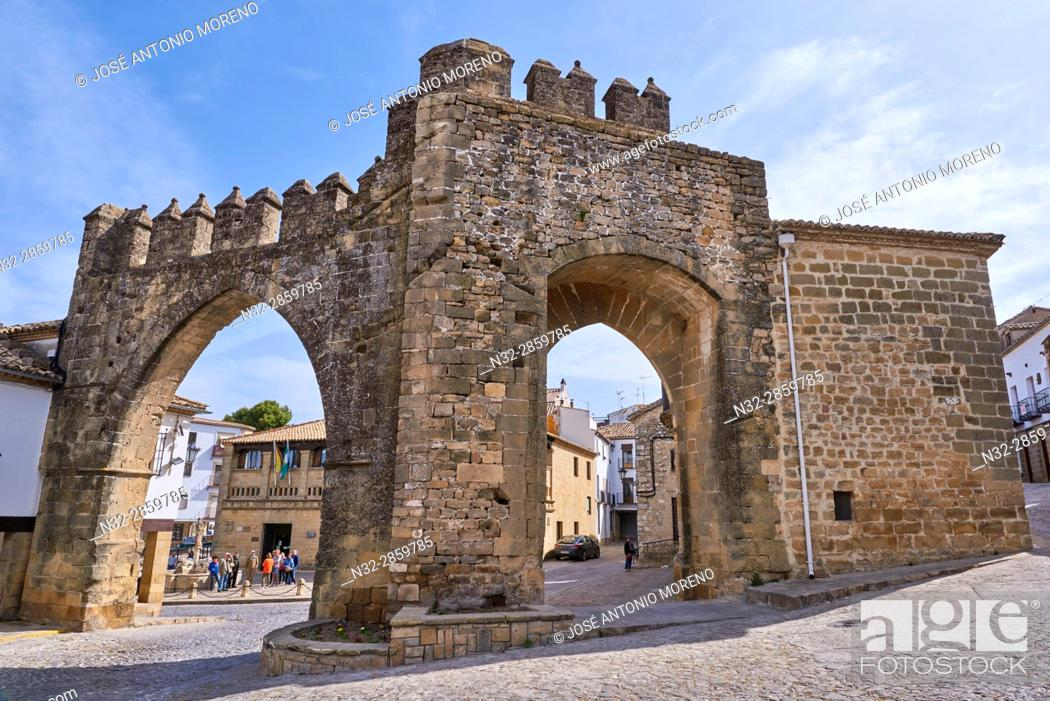 Stock Photo: Jaen town gate, Populo square, Baeza. Jaen province, Andalucia, Spain.