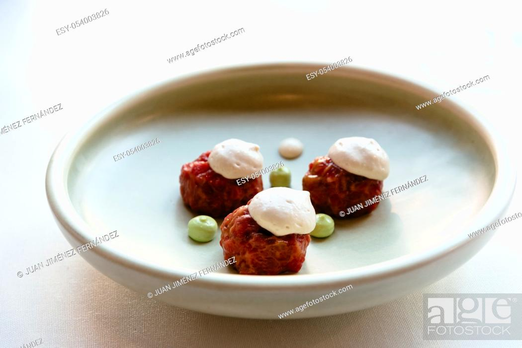 Stock Photo: Delicious meal of Spanish fusion cuisine, beautiful decorated dish on a plate made by an spanish award-winning professional chef.