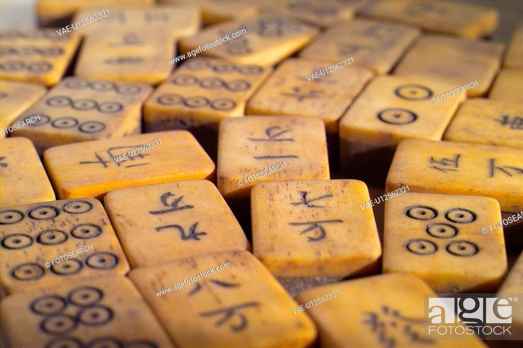 Stock Photo: mah-jong, gambling, gaming supply, house item, object, mahjong.