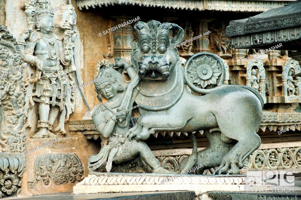 Stock Photo: Lion statue on gate of chennakesava temple , Belur , Hassan , Karnataka , India.