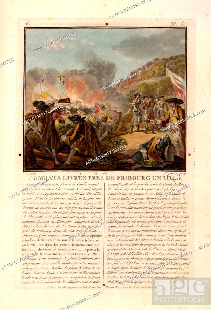 Stock Photo: Fights delivered near Friborg in 1643, Battle scene from the Battle of Freiburg im Breisgau 1644, signed: Sergent (del.); J. Morret (sculp.