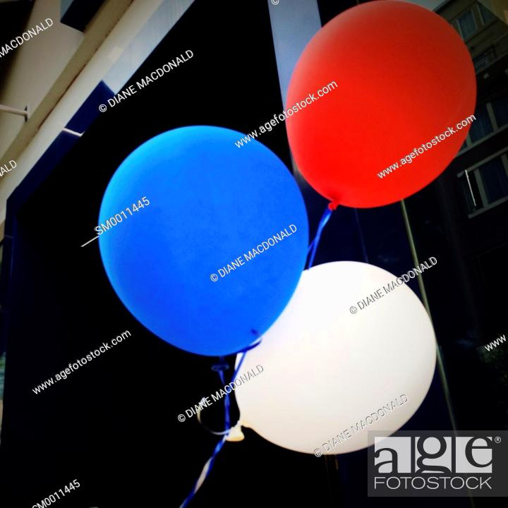 Stock Photo: Red, white and blue balloons.