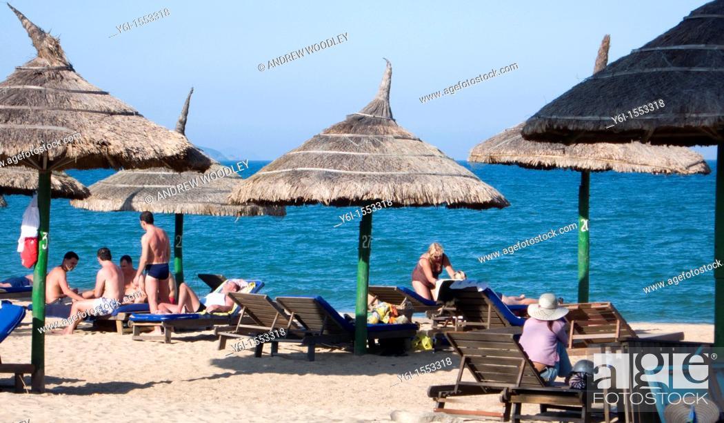 Stock Photo Palm Thatch Umbrellas Shade Tourists Nha Trang Beach Resort Vietnam