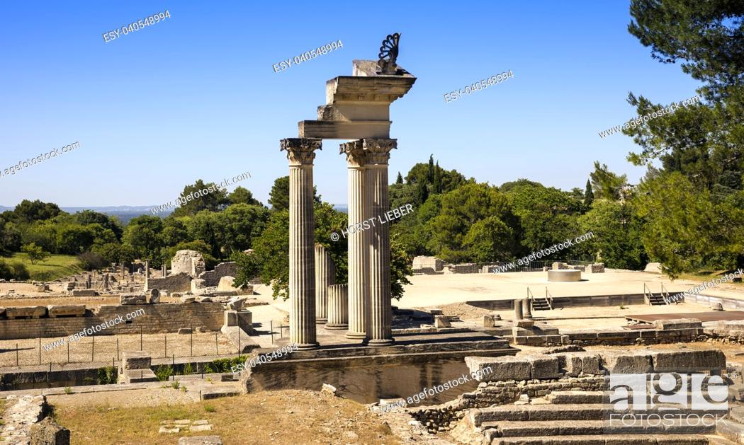 Stock Photo: Restored columns of twin Corinthian temple in first Roman Forum of Glanum. Saint Remy de Provence, Bouches du Rhone, Provence, France.