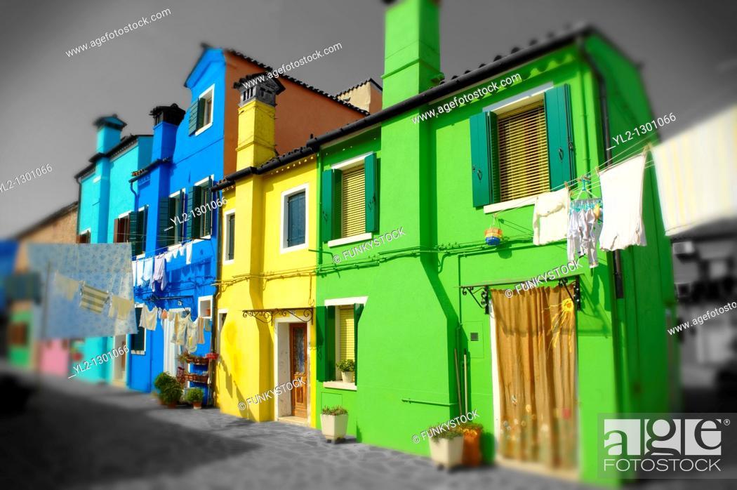 Stock Photo: Colorful houses, Fondementi Pontinella Destro, Burano Venice Italy.