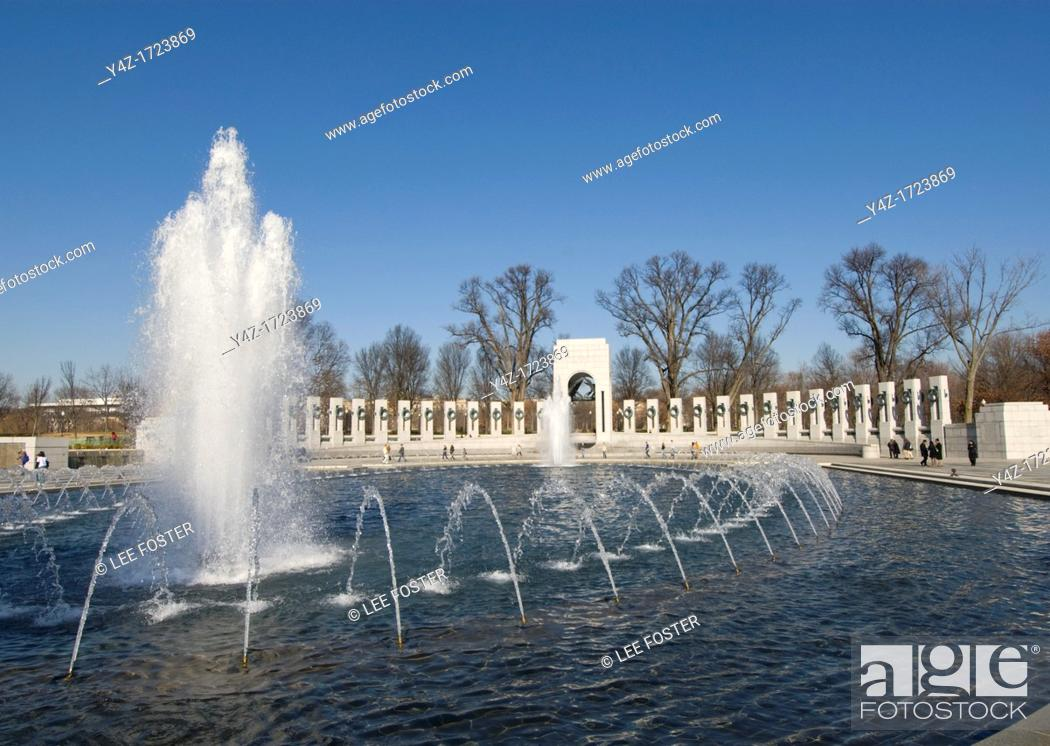 Stock Photo: Washington DC, USA: The National World War II Memorial on the Mall.