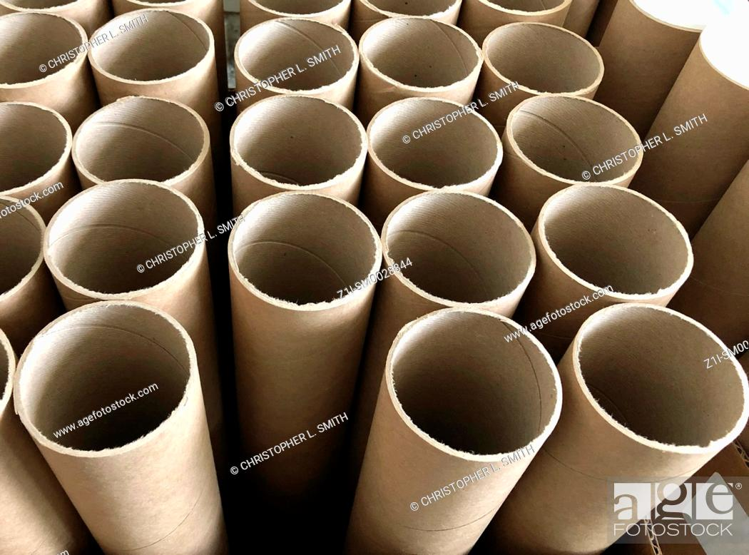 Stock Photo: Recycled cardboard mailer tubes without white plastic end caps.