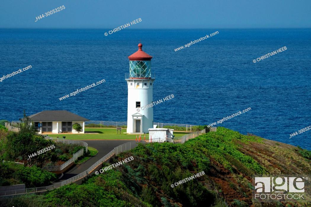 Stock Photo: South Pacific, USA, Hawaii, Hawaiian, Island, Kauai, Kilauea Lighthouse,.