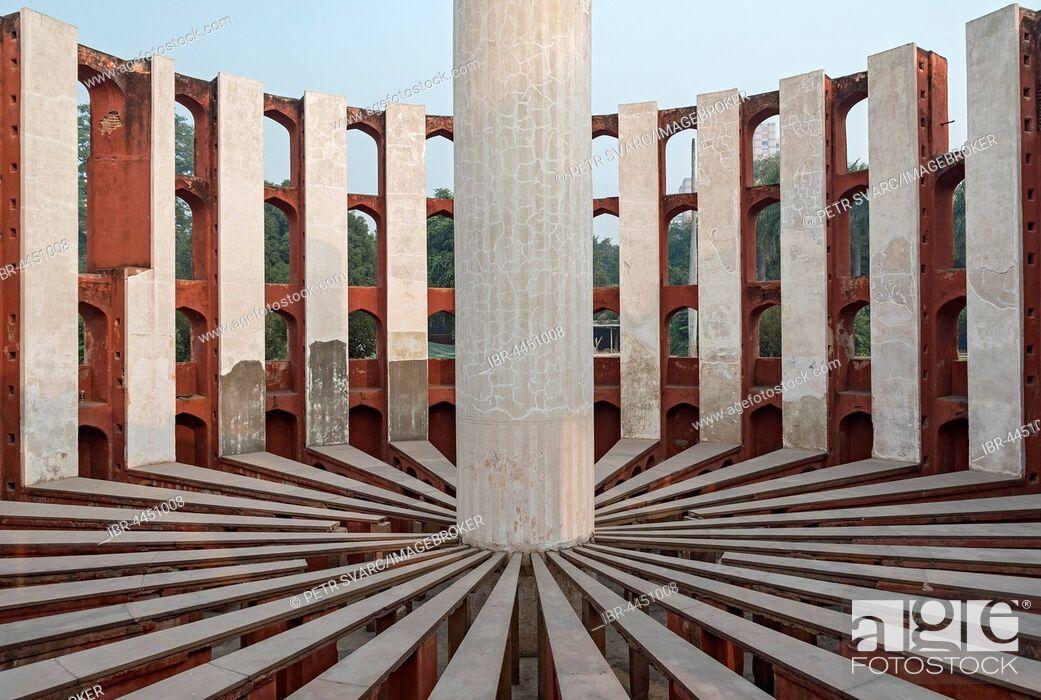 Stock Photo: Astronomical instrument Rama Yantra, Jantar Mantar observatory, New Delhi, India.