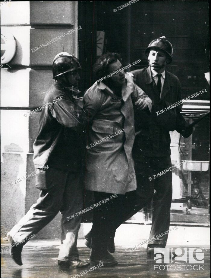 Stock Photo: May 05, 1968 - Student Riots In Paris: The latin quarter in chaos yesterday as thousands of Paris students clashed with riot police. Photo shows.