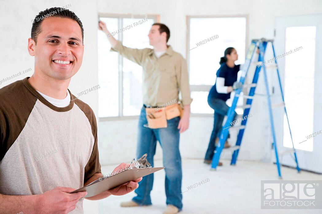 Stock Photo: Portrait of a builder.