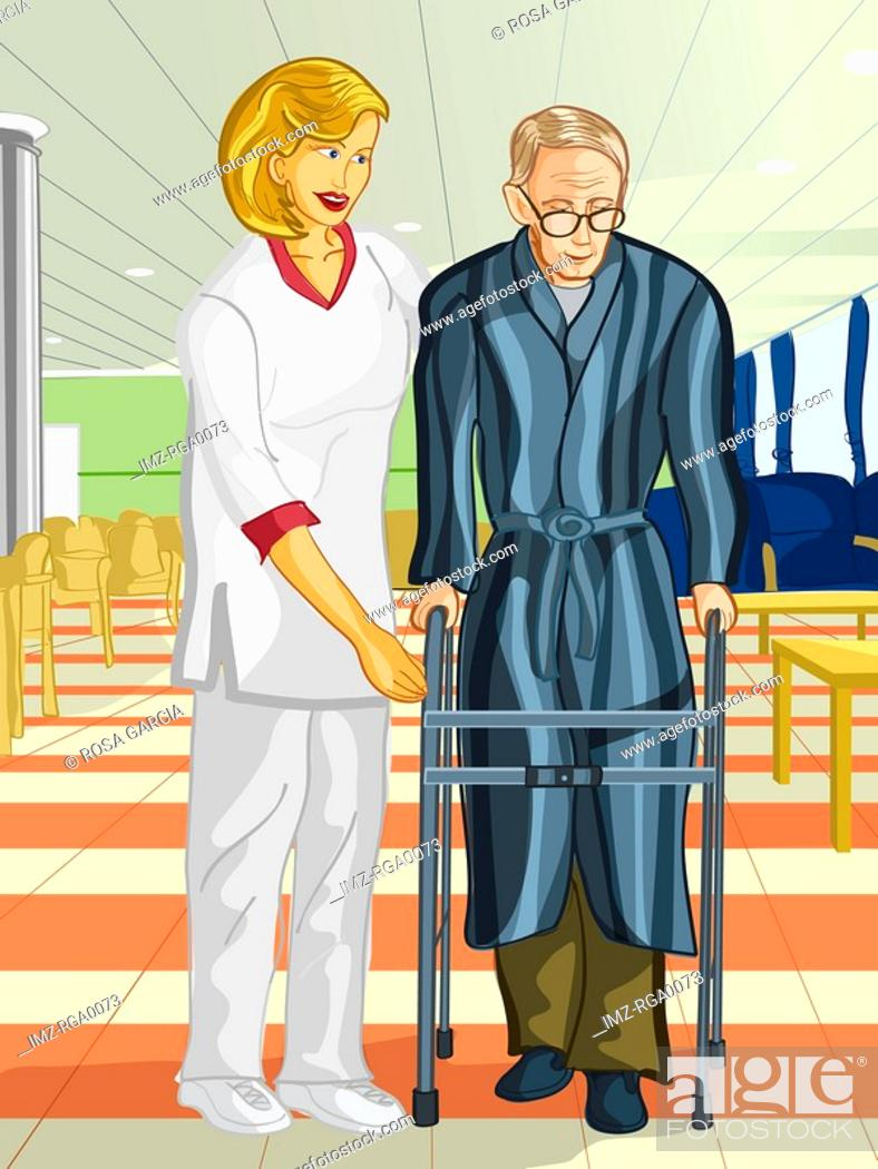 Stock Photo: A health care worker helping an elderly man with a walking frame.
