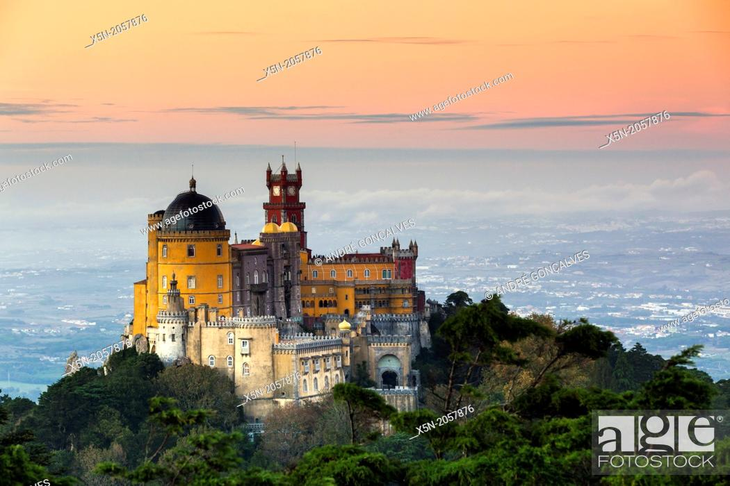 Stock Photo: The Pena National Palace, Sintra, Portugal, Europe.