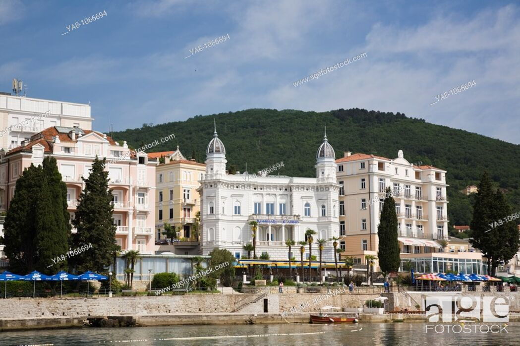 Stock Photo: Opatija Istria Croatia Europe  Offshore view of Casino and hotels on waterfront in fashionable seaside resort on Kvarner Gulf coast in Adriatic sea.